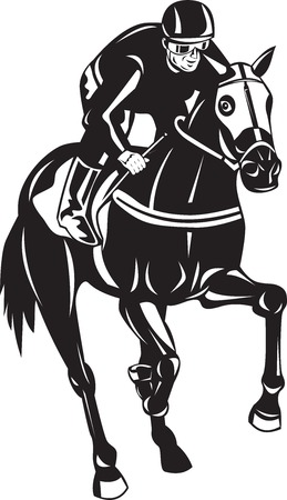 Illustration of a horse and jockey racing silhouette on isolated white background done in retro woodcut style. Vector