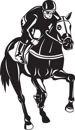 corse di cavalli: Illustrazione di un cavallo e fantino corse silhouette su sfondo bianco isolato fatto in stile retrò xilografia.