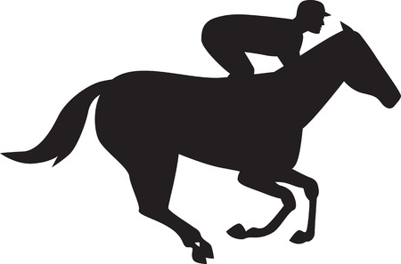 thoroughbred: Illustration of a horse and jockey racing silhouette on isolated white background done in retro style.