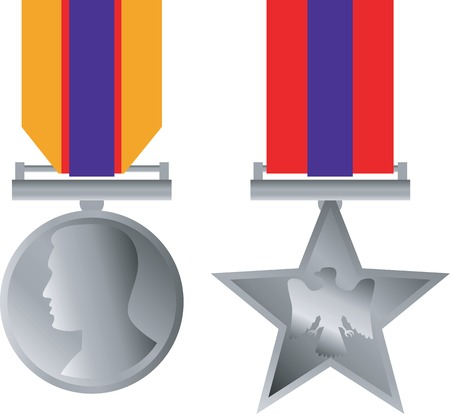 heroism: Illustration of a military medal of honor for bravery in combat on isolated white background.
