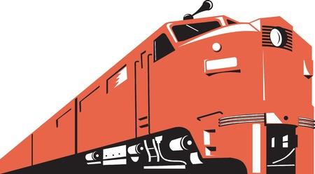 Illustration d'un train diesel sous un angle élevé fait dans le style rétro sur fond blanc isolé.