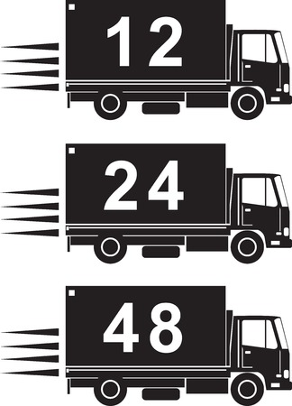 a 12: illustration of a delivery truck lorry with numbers 12 24 48 hours done in retro style on isolated background Illustration