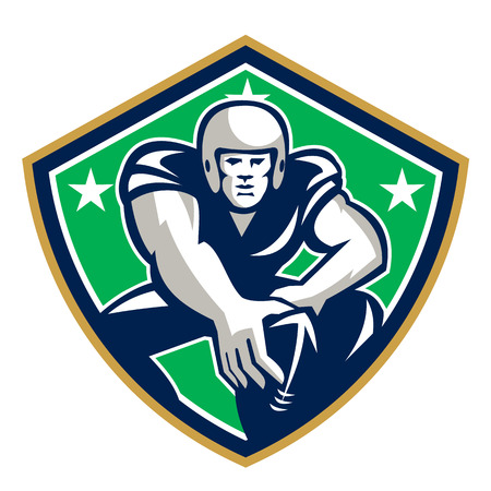 Illustration of an american football gridiron player center with hand on ball ready to snap facing front set inside crest shield with stars done in retro style. Illustration