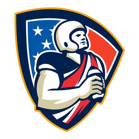 gridiron: Ilustraci�n de un campo de f�tbol del f�tbol americano jugador que tiene la preparaci�n para lanzar la bola hacia delante conjunto dentro del escudo protector con bandera de estrellas y rayas hecho en estilo retro.