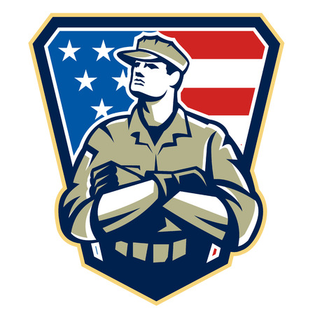 solider: Illustration of an American solider military serviceman looking up with arms folded facing front with USA stars and stripes flag in background set inside crest shield.