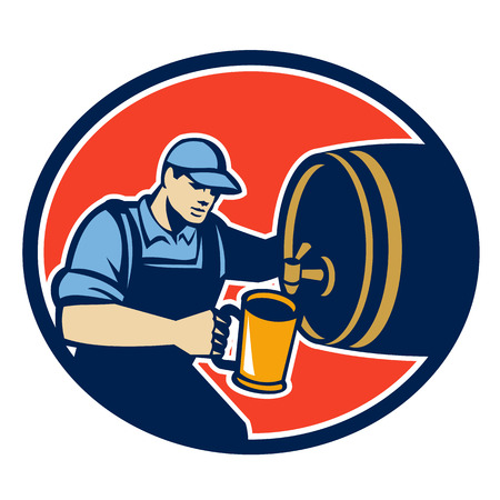 oval  alcohol: Retro style illustration of a brewer barman barkeeper bartender pouring beer into pitcher from barrel keg facing side set inside oval on isolated white background.
