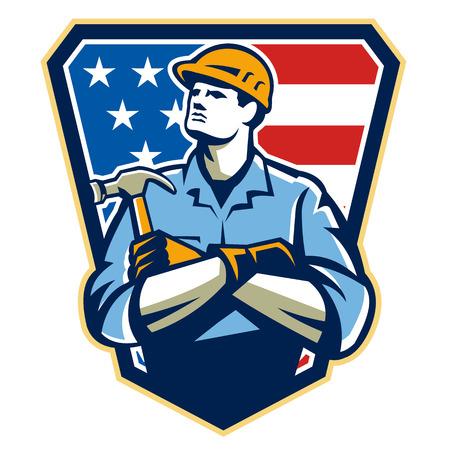 Illustrazione di un american falegname costruttore azienda martello guardando insieme all'interno scudo grande con bandiera stelle e strisce in background.