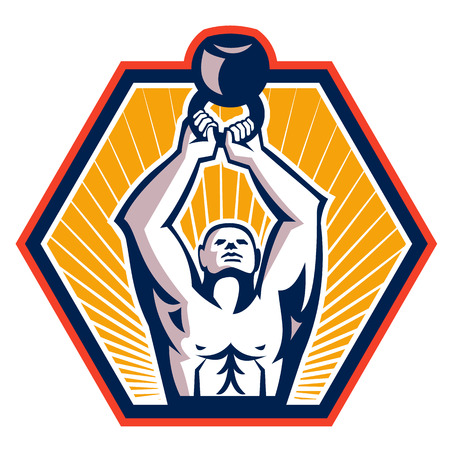 front facing: Illustration of a crossfit athlete muscle-up lifting kettlebell facing front set inside hexagon shape done in retro style on isolated white background
