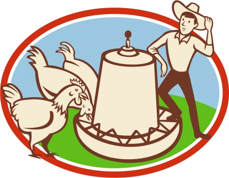 Illustration of a group of hen chicken feeding on feeder bowl with male farmer set inside oval done in cartoon style.
