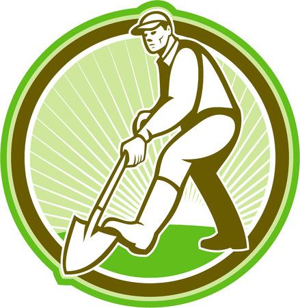 paysagiste: Illustration des hommes jardinier paysagiste horticulteur avec la cosse de pelle de face creuser fait dans le style rétro placé le cercle intérieur.