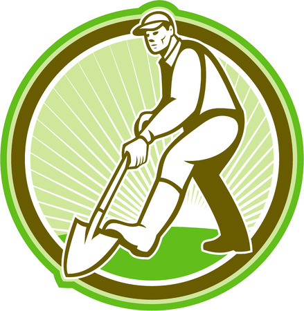 digging: Illustration of male gardener landscaper horticulturist with shovel spade facing front digging done in retro style set inside circle.