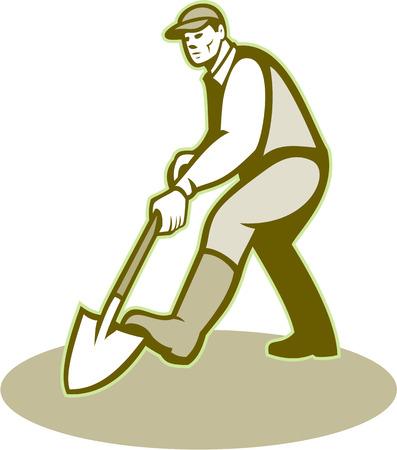 paysagiste: Illustration des hommes jardinier paysagiste horticulteur avec pelle à la pelle face à creuser avant fait dans le style rétro. Illustration