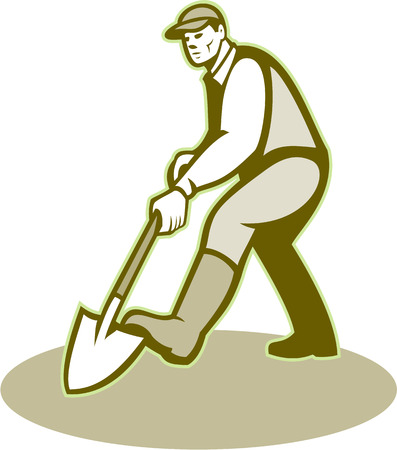 handyman cartoon: Illustration of male gardener landscaper horticulturist with shovel spade facing front digging done in retro style.
