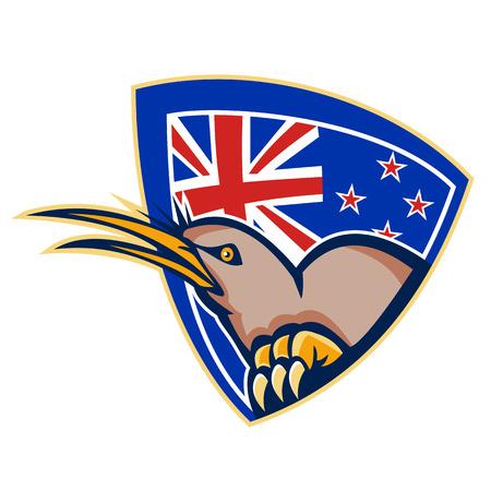 new zealand flag: Illustrazione di un arrabbiato kiwi uccello testa visto dal lato con la Nuova Zelanda bandiera a sfondo impostato all'interno di scudo cresta fatto in stile retr�.