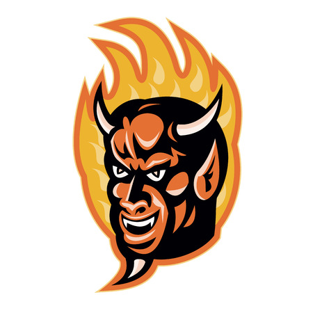 devil horns: Illustration of a demon devil with big horns with fire flames in background done in retro style.
