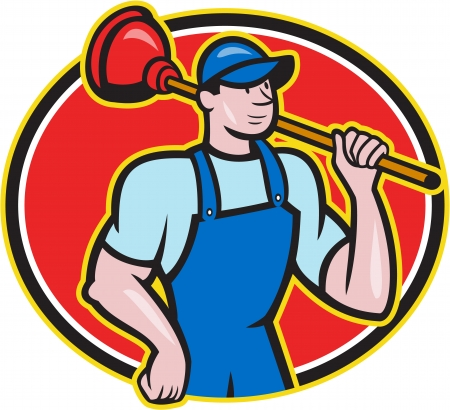 plunger: Illustration of a plumber holding plunger set inside oval done in cartoon style on isolated background.