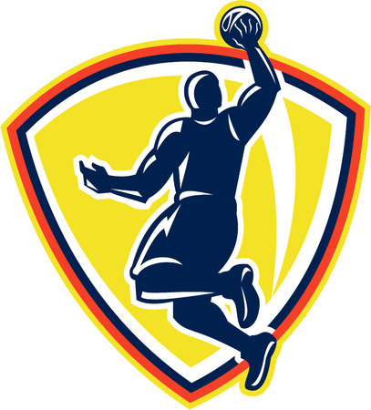 layup: Illustration of a basketball player dunking rebounding lay up ball set inside shield crest done in retro style. Illustration