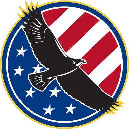 Illustratie van een kale adelaar die vliegen met Amerikaanse USA sterren strepen vlag set binnen cirkel op achtergrond gedaan in retro stijl.
