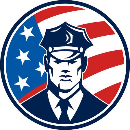 policier: Illustration d'un policier agent de sécurité agent de police américain face à l'avant a placé le cercle intérieur avec des étoiles et des étoiles drapeau des Etats-Unis fait dans le style rétro.