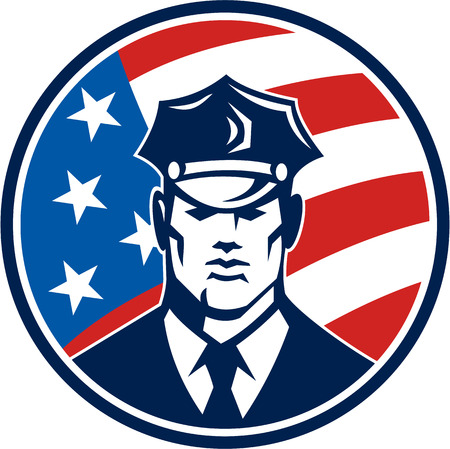 security guard man: Illustration of an American policeman security guard police officer facing front set inside circle with USA stars and stars flag done in retro style.