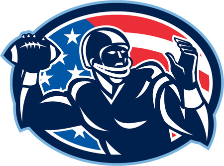 quarterback: Illustration of an american football gridiron quarterback QB player throwing ball facing side set inside oval with USA stars and stripes flag done in retro style.
