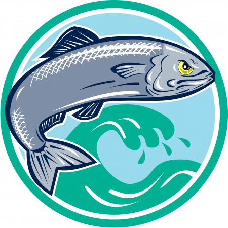 Illustration of an angry sardine fish jumping with waves in background set inside circle on isolated white background retro style.  Vector