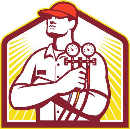 Illustration von einem Heiz-und Kühltechniker oder Kälte-und Klima Mechaniker hält einen Druck Temperatur messen Vorderansicht innerhalb Schild auf isoliert auf weißem Hintergrund im Retro-Stil.