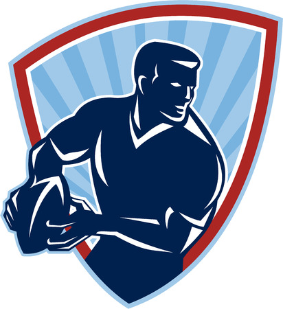 Illustration of a rugby player running about to pass the ball done in retro style set inside shield. Vector