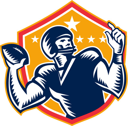 quarterback: Illustration of an american football gridiron quarterback player throwing ball facing side set inside crest shield with stars in background done in retro woodcut style