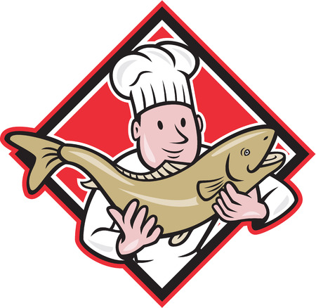Illustration of a chef cook handling holding up a trout salmon fish facing front set inside diamond shape done in cartoon style