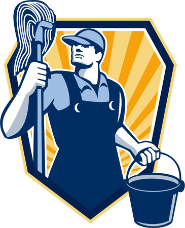 保持用務員クリーナー ワーカーのイラスト モップし、レトロなスタイルの盾の紋章の内部設定で行われる低の角度から見たバケット バケツの水