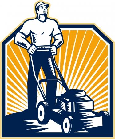 xilografia: Ilustración del jardinero macho cortar con cortadora de césped frente a frente hecho en estilo retro grabado en el fondo blanco aislado