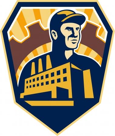 Ilustración de un trabajador de la fábrica con el edificio de la fábrica y la rueda dentada engranaje mecánico en segundo plano dentro cresta escudo hecho en estilo retro