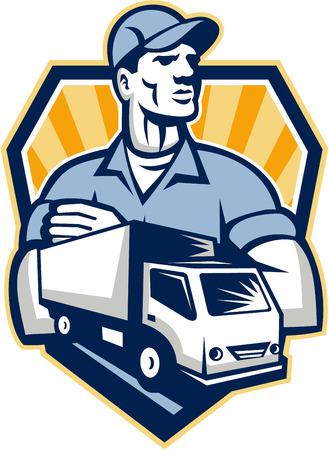 Illustratie van een verhuizer bezorger met bewegende vrachtwagen op de achtergrond set binnen schild kuif gedaan in retro stijl voorgrond
