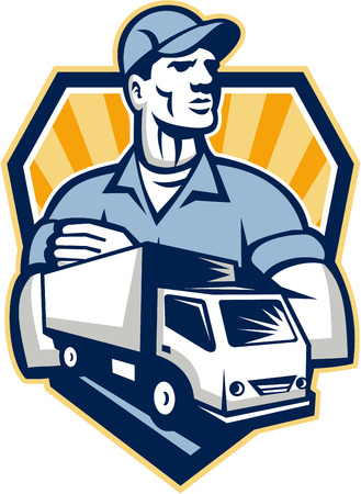 Illustration of a removal man delivery guy with moving truck van in the foreground set inside shield crest done in retro style  Vector