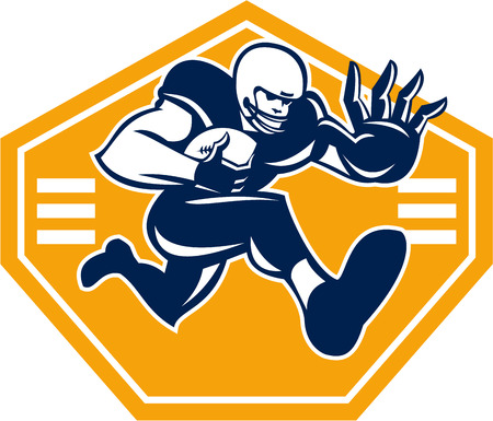 running back: Illustration of an american football gridiron running back player running with ball facing front fending putting out a stiff arm set inside shield done in retro style  Illustration