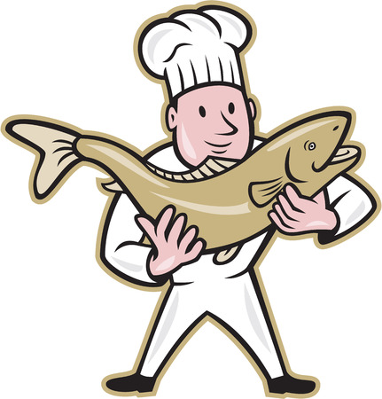 Illustration of a chef cook handling holding up a trout salmon fish facing front standing on isolated whit5e background done in cartoon style