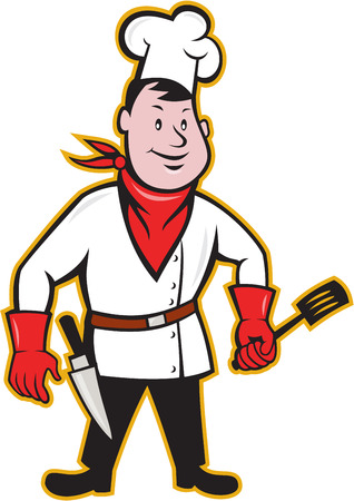 Illustration of a chef cook with spatula and kitchen knife on hip wearing bandana on neck and facing front on isolated white background done in cartoon style Stock Vector - 24024779
