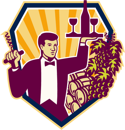 barkeeper: Retro style illustration of a waiter serving carrying wine glass and bottle on one hand and corkscrew on the other with wine barrels and grape vine in background set inside shield