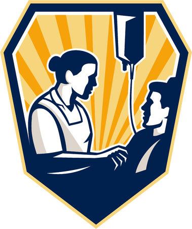 iv: Illustration of a nurse tending a sick patient in bed with iv intravenous drip in background set inside shield crest done in retro style  Illustration