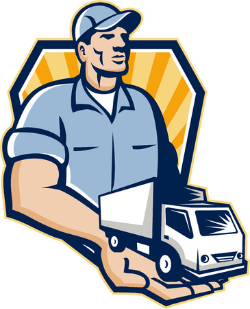 removal van: Illustration of a removal man delivery guy with moving truck van on the palm of his hand handing it over to you set inside shield circle done in retro style
