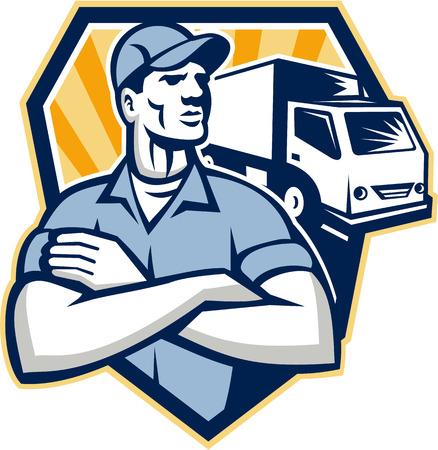 Illustratie van een verhuizer bezorger met bewegende vrachtwagen op de achtergrond set binnen een halve cirkel gedaan in retro stijl achtergrond Stockfoto - 24024844