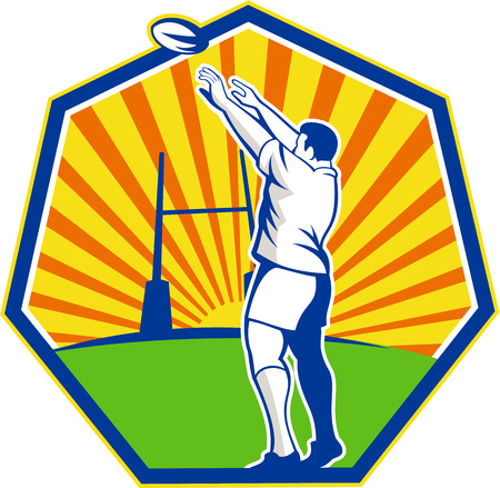goal post: Illustration of a rugby player throwing lineout ball with goal post in background set inside shield with sunburst done in retro style