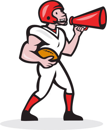 quarterback: Illustration of an american football gridiron quarterback player holding bullhorn blowhorn shouting facing side on isolated white background done in cartoon style. Illustration