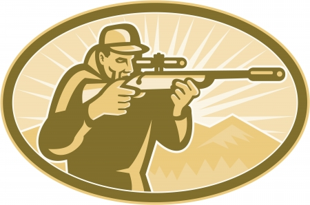 hunting rifle: Illustration of a hunter aiming telescopic rifle with sunburst and mountains in background done in retro style.