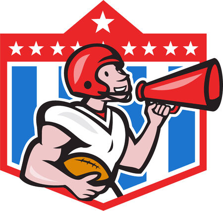 quarterback: Illustration of an american football gridiron quarterback player holding bullhorn blowhorn shouting facing side set inside crest shield with stars in background done in cartoon style.