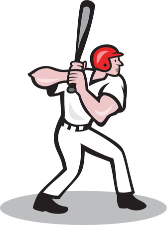 hitter: Illustration of a baseball player batter hitter batting with bat viewed from side done in cartoon style isolated on white background. Illustration