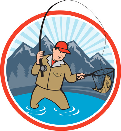 fly fisherman: Illustration of a fly fisherman with fly rod and reel reeling and netting up a trout fish set inside circle with lake, trees and mountain in background done in cartoon style.