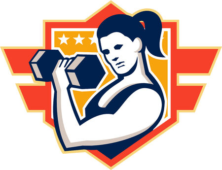 hand weight: Illustration of a woman lifting dumbbell weight training set inside shield crest shape done in retro style. Illustration