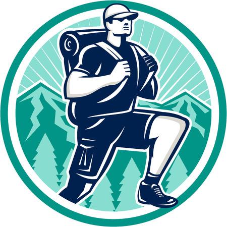円内のレトロなスタイルで行われる設定をバック グラウンドでの山木と正面を歩き回ってウォーキング ハイキング ハイカーのイラスト。
